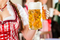 Young people in traditional bavarian tracht in restaurant or pub one woman is standing with beer stein front the group the Royalty Free Stock Photo