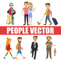 Young people vector with various characters
