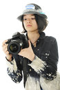 Young Photographer Checking Camera Settings Royalty Free Stock Photo