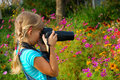 Young photographer in the garden Royalty Free Stock Images
