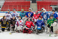 Young players gathered for a group photography moscow apr on closing ceremony of the championship season of ice hockey sports Royalty Free Stock Photo