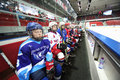Young players watching on closing ceremony of the championship moscow apr season ice hockey for sports school junior teams and Royalty Free Stock Photos