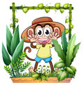 A young and playful monkey illustration of on white background Royalty Free Stock Image