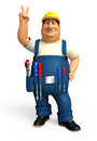 Young plumber with victory sign d rendered illustration ofyoung Stock Image