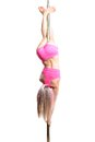 Young pole dance woman make basic invert isolated Stock Image