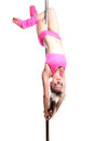Young pole dance woman make lean back isolated Royalty Free Stock Photos