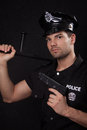 Young policeman with guns handsome Stock Photo