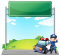 A young policeman with his police car near an empty signage illustration of on white background Royalty Free Stock Images