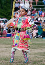 Young Powwow Jingle Dress Dancer Stock Photo