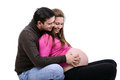 Young pregnant couple pregnancy conceptual images and all beauties that come with it close up of a men kissing the belly of his Stock Photos