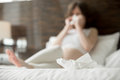 Young pregnant woman caught cold Royalty Free Stock Photo