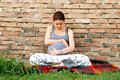 Young pregnant woman happy caucasian hugging her belly sitting by brick wall outdoor Royalty Free Stock Photography