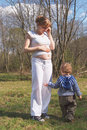 Young pregnant woman and her little son Stock Photography
