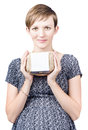 Young pregnant woman holding a carton of eggs pretty fresh with blank white label egg health benefits during pregnancy isolated on Stock Images