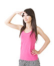 Young pretty asian woman looking ahead away isolated on the white background Royalty Free Stock Photo