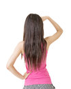 Young pretty asian woman looking ahead away rear view isolated on the white background Stock Images