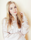 Young pretty blond teenage girl close up portrait, lifestyle people concept Royalty Free Stock Photo