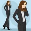Young and pretty career woman wearing black blous Royalty Free Stock Images
