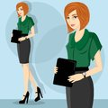 Young and pretty career woman wearing green blous Royalty Free Stock Image