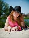 Young pretty girl in cowboy hat Royalty Free Stock Photo