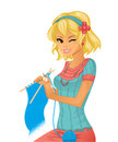 Young pretty girl knitting illustration of Stock Image