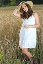 Young pretty girl posing in a  wheat field Stock Photos