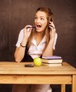 Young pretty girl student in classroom Royalty Free Stock Photo
