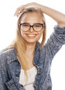 Young pretty girl teenager in glasses on white isolated blond hair modern hipster Royalty Free Stock Photo