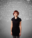 Young pretty lady with hand drawn calculations and icons white Stock Photo