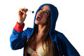 Young pretty latino woman eating a lolly pop working out and Stock Image