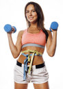 Young pretty slim woman with dumbbell isolated Royalty Free Stock Photo