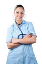 Young pretty smiling woman doctor with stethoscope Stock Image