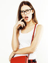 Young pretty teenage hipster girl posing emotional happy smiling on white background, lifestyle people concept Royalty Free Stock Photo