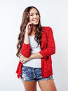 Young pretty teenager brunette girl happy smiling emotional posing on white background, lifestyle people concept Royalty Free Stock Photo