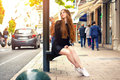 Young pretty trendy caucasian girl posing at the Europe city Royalty Free Stock Photo