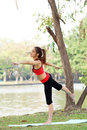 Young pretty woman doing yoga exercises in park Stock Photos