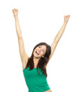 Young pretty woman hands up raised arms Royalty Free Stock Photo
