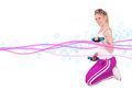 Young pretty woman holding weights and doing body training with blur motion lines design on white background Royalty Free Stock Photo