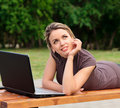 image photo : Young pretty woman with laptop