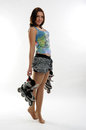 Young pretty woman with roller skates Royalty Free Stock Photo