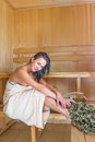 Young pretty woman in sauna this image has attached release Stock Image