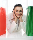 Young pretty woman with shopping bags Royalty Free Stock Photos