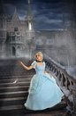 Young princess losing shoe on stairs beautiful during foggy night Stock Images