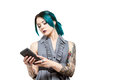 Young professional female with tattoos modern depicting an engineering or architectural student or Stock Image
