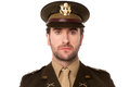 Young proud american military officer smart usa army man isolated against white Royalty Free Stock Image