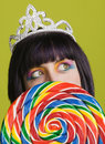 Young punk woman with a big lollipop Royalty Free Stock Photo