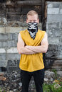 Young rebel in bandana portrait of angry with on face Stock Photography