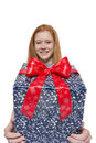 Young red haired girl presenting a gift well dressed presents present with big smile Royalty Free Stock Images