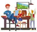 stock image of  Young red-haired man sitting in a sport bar. Student night out. Colorful flat vector illustration.