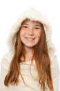 Young red headed caucasian child wrapped white fur coat smile her face Stock Image